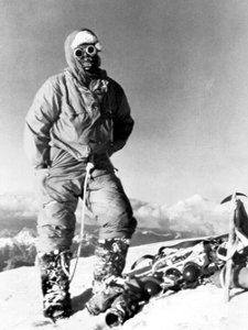 This photo of Lino Lacedelli on the summit of K2, with the impression of an oxygen mask on his beard, led to accusations of his lying about reaching the summit without oxygen (Photo: Achille Compagnoni / Wikimedia Commons)