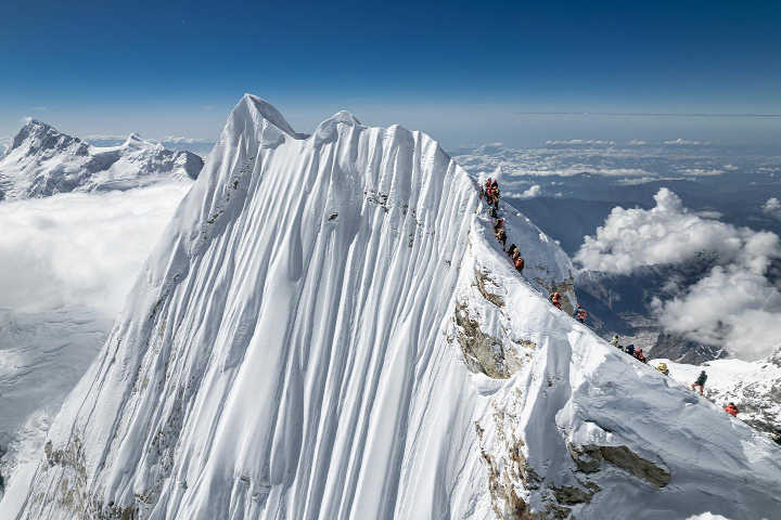 Manaslu's fluted east face and three summits shot by drone (Photo: Jackson Groves / Facebook)