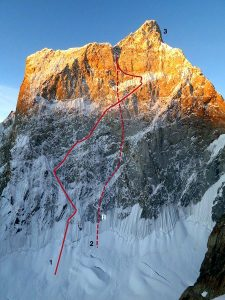 Kyle Dempster and Scott Adamson's route last year on the north face of the Ogre II (Photo: Kyle Dempster)