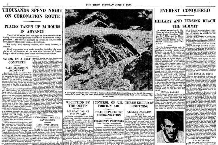 p.6 of The Times newspaper, 2 June 1953, announcing that Everest had been climbed for the very first time alongside news of the queen's coronation and the lesser known event of a cricket pavilion being struck by lightning