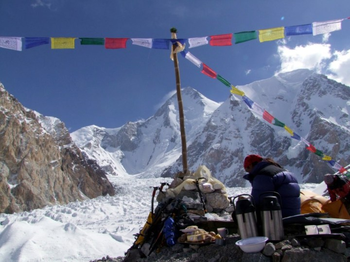 Buddhist puja in the peaceful setting of Gasherbrum Base Camp, Pakistan