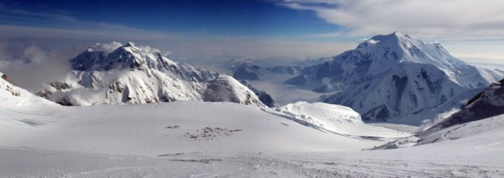 Breathtaking panorama of Mount Hunter, the Kahiltna Glacier and Mount Foraker, with Camp 3 nestling on the plateau below