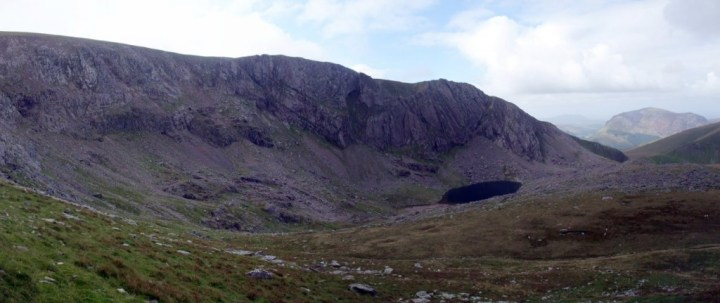 Panorama of Clogwyn Du'r Arddu, a popular rock climbing venue affectionately known as Cloggy