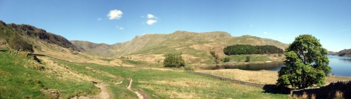 Mardale panorama of High Street, Riggindale, Kidsty Pike and Haweswater from The Rigg