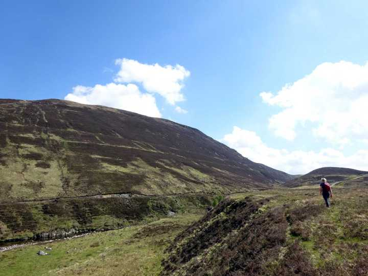 Walking the Parallel Roads of Glen Roy, with more parallel roads visible on the hillside opposite