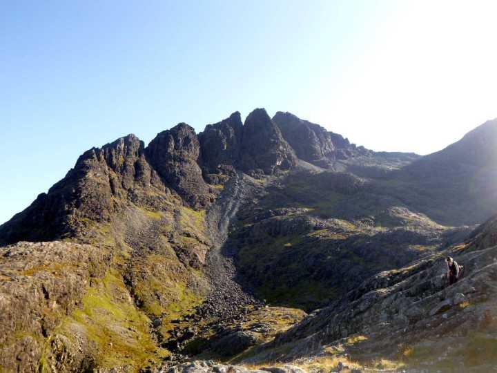 Looking back at Sgurr nan Gillean's Pinnacle Ridge from the slabs during the descent