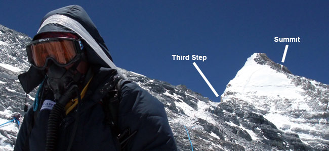 Everest's summit pyramid from the top of the Second Step