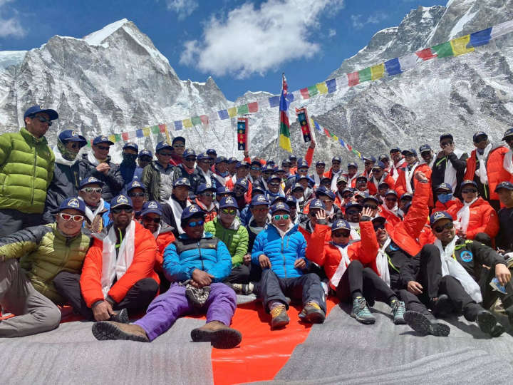 Everest 2021. An Indian team conduct a base camp puja with scant regard for the rules of social distancing (Photo: Seven Summits Treks)