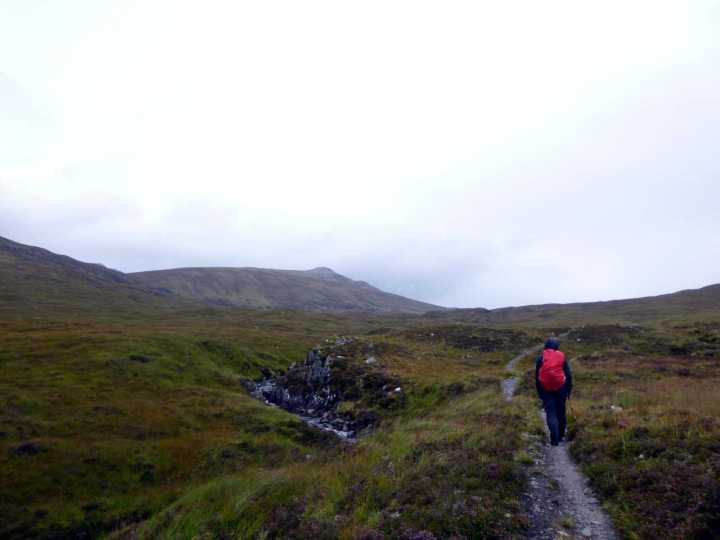 On a firm trail up to the Lairig Leacach, with Stob Ban up ahead. Shortly after this we left the trail to cut across bog to the col on the left.