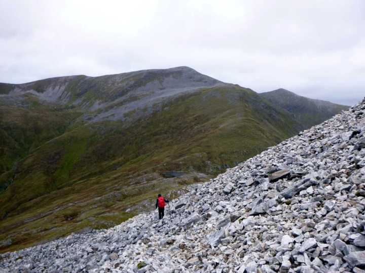 Descending quartzite rubble from Stob Ban with Stob Choire Claurigh up ahead