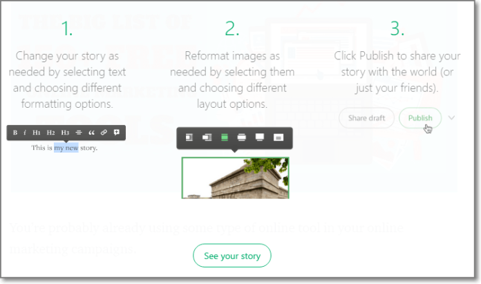 Once you've got the text copied (or imported) into the document, add any images and check the formatting.