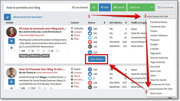 """ort the results by """"Social Shares per Post"""" to get the most shared articles and click on """"View Sharers"""" button"""