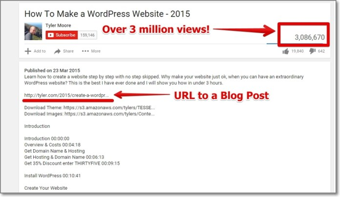 Video description will have an URL included back to your blog post thus it should generate a lot of long-term additional traffic from search engines alone