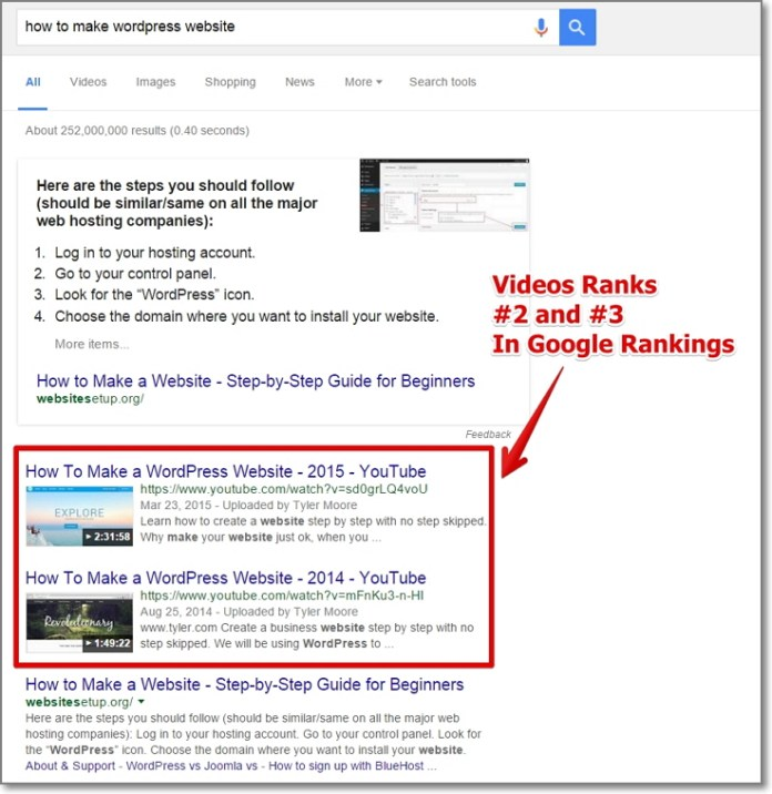 content uploaded to Youtube tends to rank high in search engine rankings