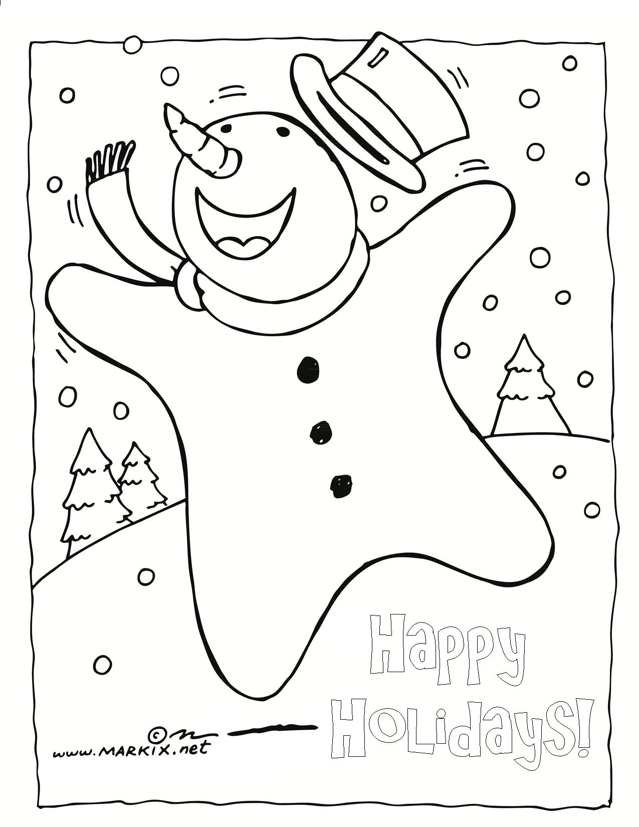 Happy Snowman Coloring Page Coloring Page