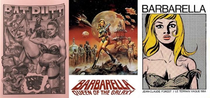 Collage - Batt Butt 5, Barbarella film poster, Barbarella comic 1 1964