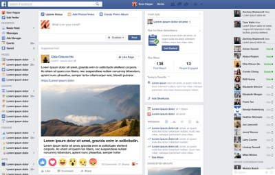 Facebook News Feed mockup