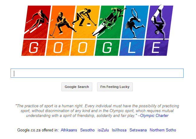 Google Doodle 2014 Winter Olympics with Olympic Charter quotation