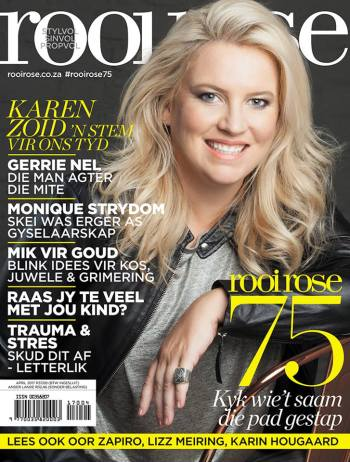 rooi rose, April 2017, 75th birthday issue with Karen Zoid