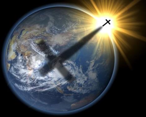 earth globe facing asia with sun halo