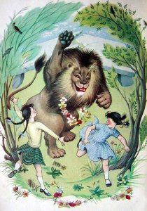 Pauline Baynes Narnia - Aslan & girls