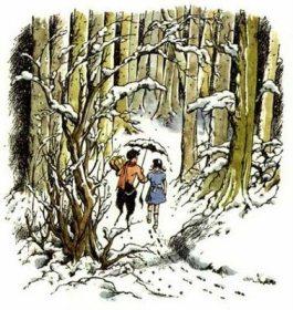 Pauline Baynes Narnia - Lucy & Mr Tumnus