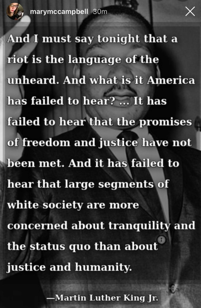 MLK - justice or tranquility