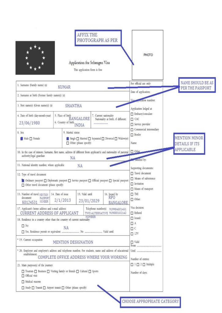 Sample Visa Form Mark My Adventure