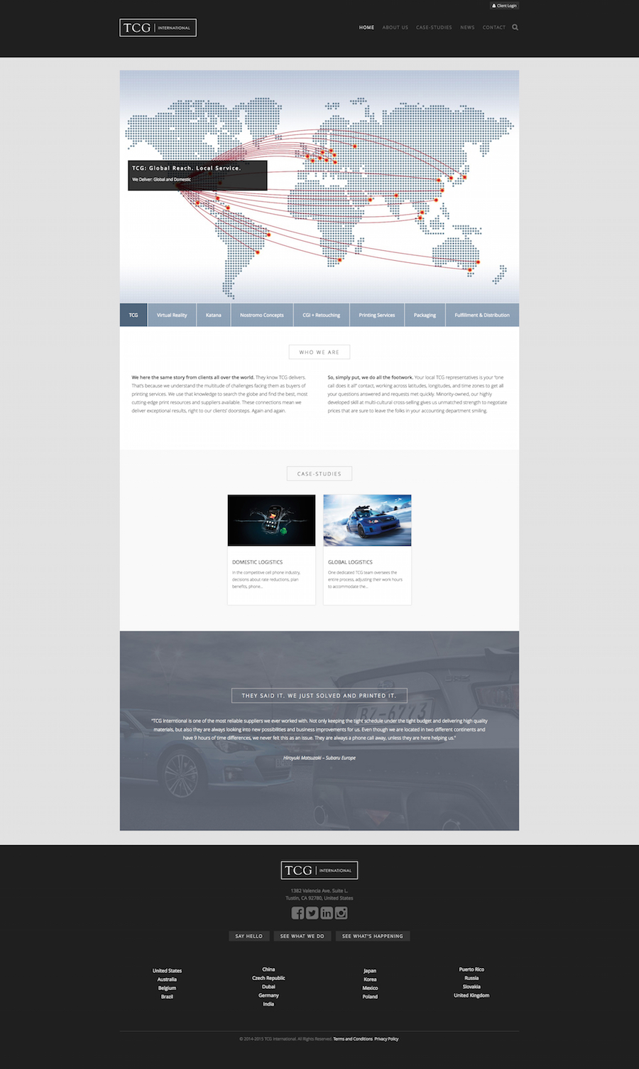 TCG International Home page