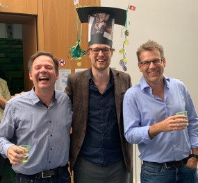 My two PhD supervisors, Frank Glaw (left) and Miguel Vences (right) after my defence