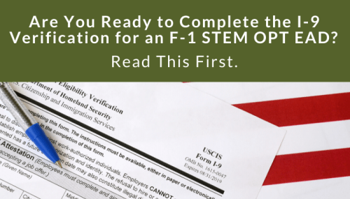How Do I Complete the I-9 Verification for an F-1 STEM OPT EAD?