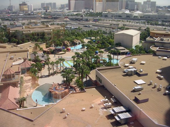 View of the pool from a Masquerade Tower room. Note the Strip in the
