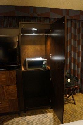Half height closet with safe.