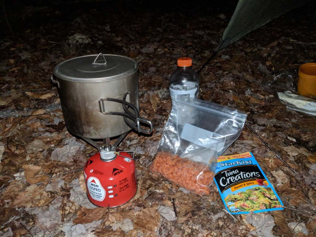 Fancy one-pot backpacking meal with pasta and tuna, cooking one-pot meals is one way backpacking can prepare you for vanlife