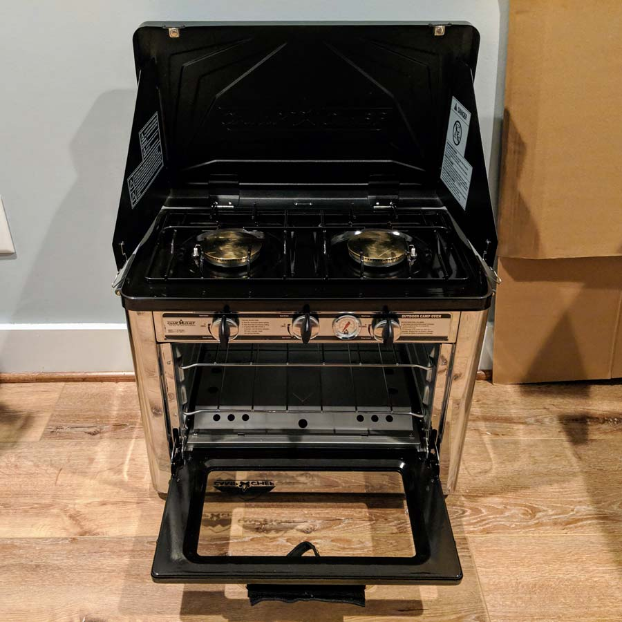 camping oven with two burner stove