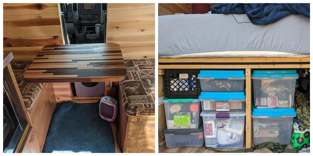 camper van seat, table and platform bed with garage