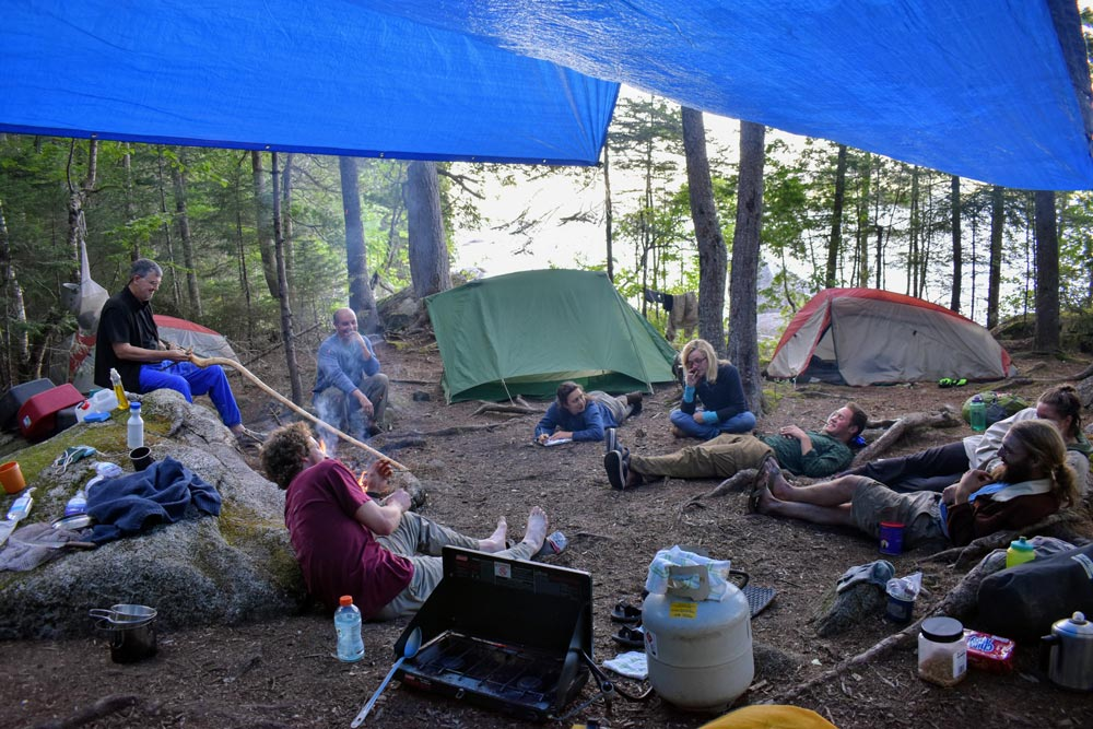 maine trail crew camp at rainbow lake