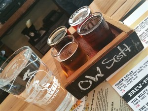 A flight of beers at St. Pete Brewing in St. Petersburg, Florida
