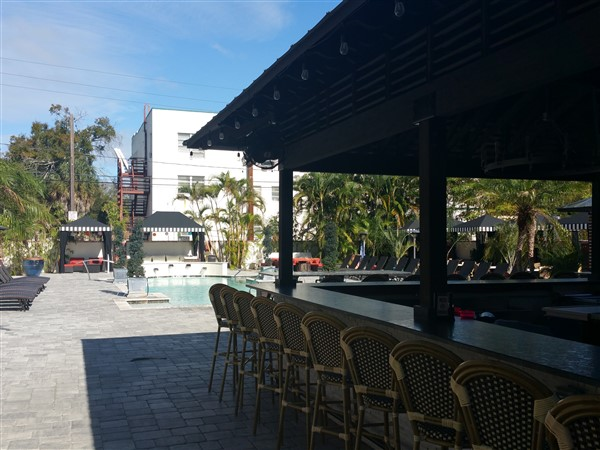 The poolside bar at the Hollander Hotel in St. Petersburg, FL