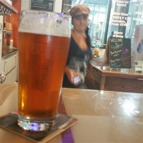 A pint of Green's Lantern Pale Ale at Flying Boat Brewing Company in St. Petersburg