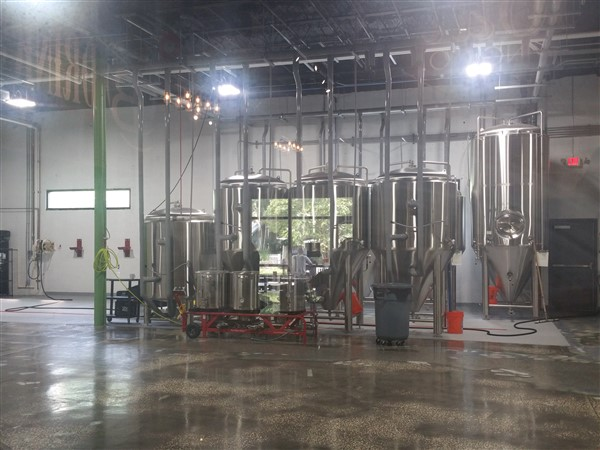 The brewing area at Flying Boat Brewing in St. Pete