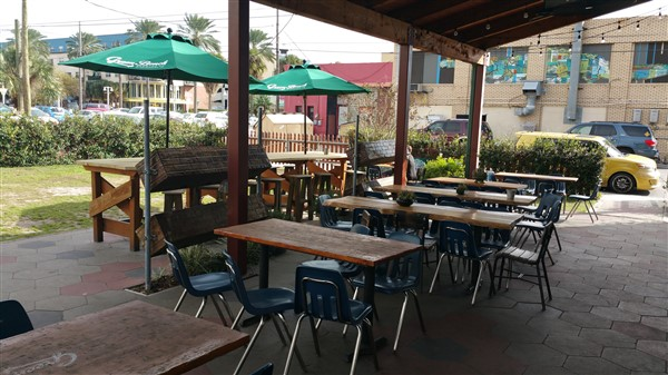 Outdoor seating area at Green Bench Brewery in St. Pete, FL