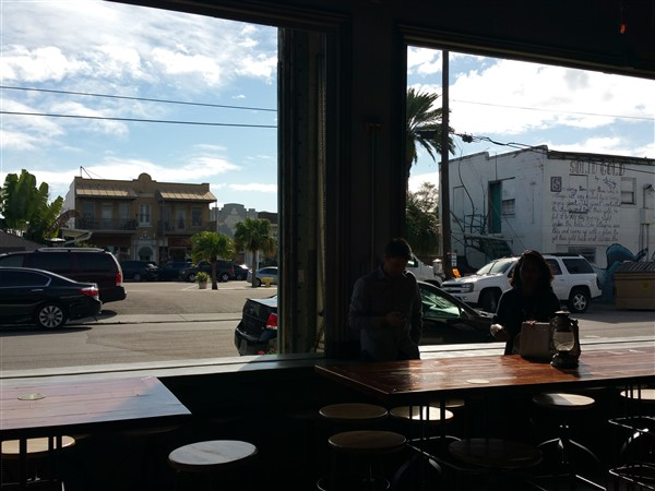 A view of the outside from inside the Green Bench Brewing Company in St Pete