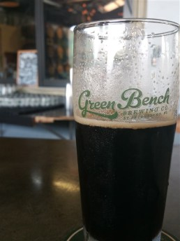 A pint of Black IPA at Green Bench Brewing Company in St Pete, Florida