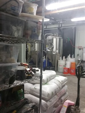 Brewing equipment at Angry Chair Brewing Company in Tampa, Florida