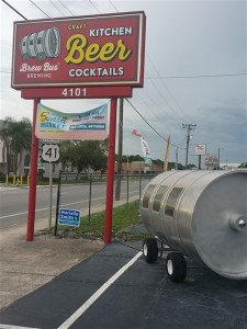 Street sign for Brew Bus Brewing in Tampa, Florida