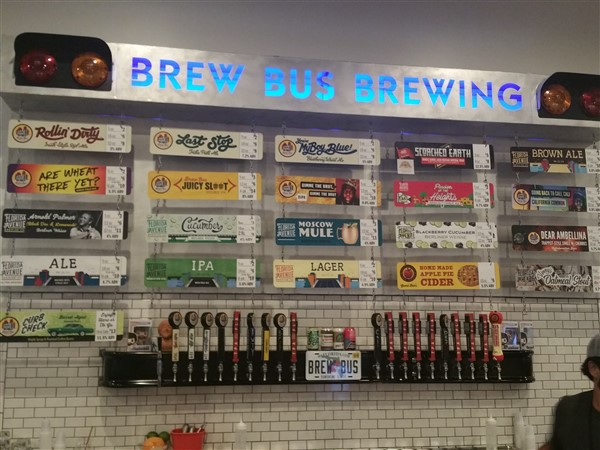 The tap list for Brew Bus and Florida Avenue Brewing in Tampa,