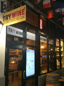 Front entrance at Try Wine Bar in downtown St Petersburg, FL