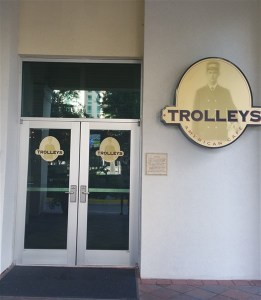 The entrance to Trolley's American Cafe in the Embassy Suites Tampa