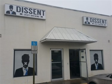 Front entrance at Dissent Craft Brewing in St. Petersburg, Florida
